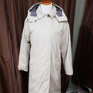 LANDS END Sz S 6-8 Khaki Goose Down Long Warm Coat